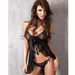 Women Sexy lingerie Hot  nightwear sleepwear negligee nightgown Sexy Costume Baby Dolls SL021 black one size