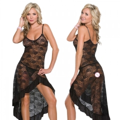 Sexy Lingerie Perspective Lace Sleep Sling Long Dress Split Nightgown +T-thongs Underwear SL027 black one size