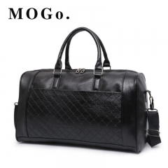 MOGO LargeTravel Bag for men Fashion Casual Pu Leather Weekend  Handbag women Shoulder Bag MG016 black one size