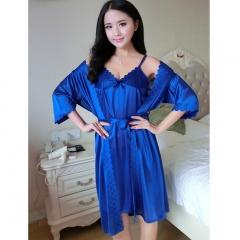 MOGO Sexy Silk Sleepshirts Women Pajamas Luxury Soft Sleepwear Two Piece Nightwear P005 dark blue one size