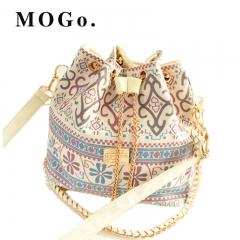MOGO Women HandBags Messenger elegant Bags New Tassel Bucket Shoulder Handbags Crossbody B045 White one size