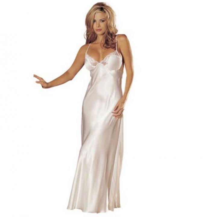 412a1a9ba3 MOGO Ladies Women Fshion Sexy Lingerie Lace Underwear Sleepskirt Satin Lace  Long Gown SL047 white one