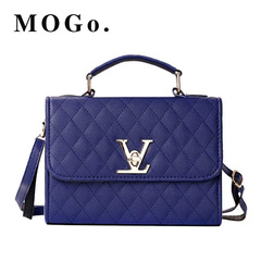 MOGO ladies quality PU leather handbag solid shoulder bag lady messenger wallet and handbag B012 Blue one size