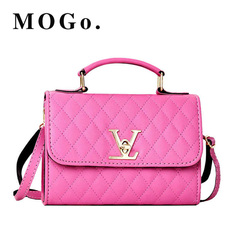 MOGO ladies quality PU leather handbag solid shoulder bag lady messenger wallet and handbag B012 Pink one size