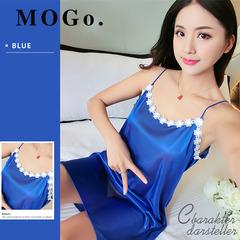 MOGO Ladies Sexy Silk Night Dress Lingerie Babydoll Nightdress Sleepwear Nightwear For Women P004 BLUE one size