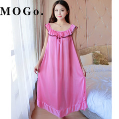MOGO Ladies Sexy Silk Satin Night Dress Nightgown  Nightdress Sleepwear Nightwear For Women P007 pink one size