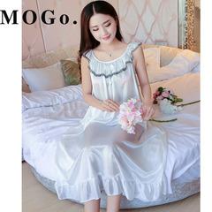 MOGO Ladies Sexy Silk Satin Night Dress Nightgown  Nightdress Sleepwear Nightwear For Women P007 white one size