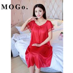 MOGO Womens Sexy Satin Silk Sleepwear Nightdress Night Dress Skirt Nightwear P008 red one size
