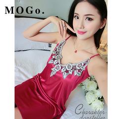 MOGO Sexy Sleepwear Female Silk Satin Pajamas Night Dress Women Nightwear Nightgown P009 red one size