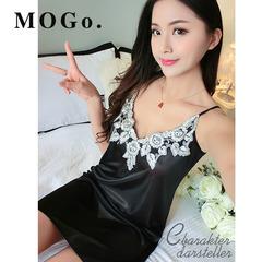 MOGO Sexy Sleepwear Female Silk Satin Pajamas Night Dress Women Nightwear Nightgown P009 black one size