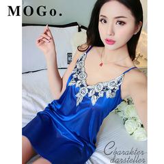 MOGO Sexy Sleepwear Female Silk Satin Pajamas Night Dress Women Nightwear Nightgown P009 blue one size