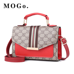 MOGO Women bags Ladies Handbags Leather Clutch Bag Women Messenger Bags B046 Gray-red one size