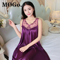 MOGO Silk Satin Pajamas Nightdress Lace Sleepwear Fashion Nightwear For Women P003 PURPLE one size