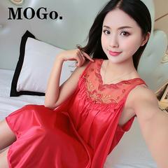 MOGO Silk Satin Pajamas Nightdress Lace Sleepwear Fashion Nightwear For Women P003 RED one size