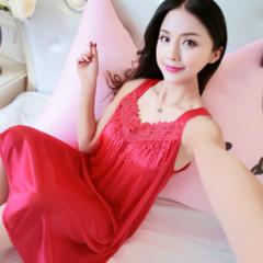 MOGO Womens Sexy Satin Silk Sleepwear Nightdress pajamas Skirt Nightwear P012 RED one size