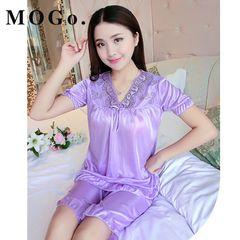 MOGO Women Sleepwear  Silk Women Sleepwear Set Girl Nightgown Short Pant Silk Pajamas Sets p015 pink normal size