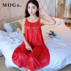MOGO Ladies Sexy Silk Satin pajamas Night Dress Nightgown Sleepwear Nightwear For Women P016 red normal size