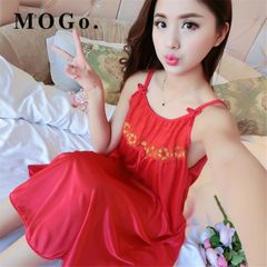 MOGO Ladies Sexy Silk Satin pajamas Night Dress Nightgown Sleepwear Nightwear For Women P016 pink normal size