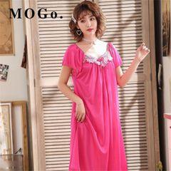 MOGO Womens Sexy Satin Silk Sleepwear Nightdress pajamas Skirt Nightwear P018 red normal size