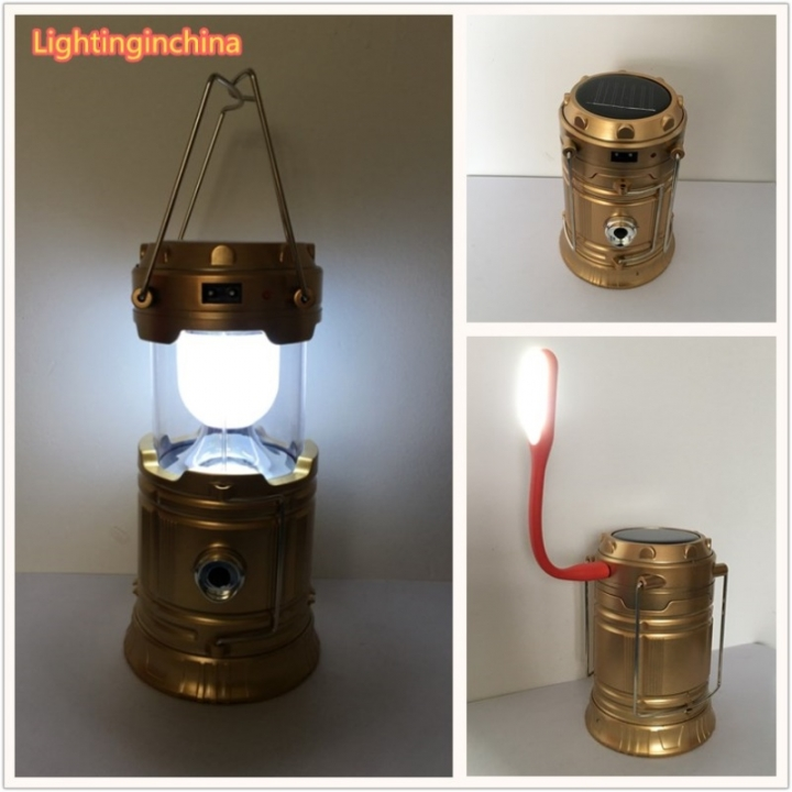 Licer Led Portable Rechargeable Solar Camping Lantern Camping Lamp 6 Leds Hiking Camping Flashlight Gold Normal