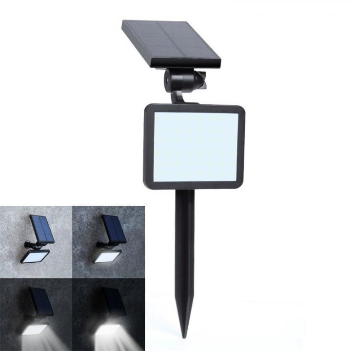 Licer Led Solar Yard Lamp Garden Light Lawn Lamp 48 Leds Waterproof Wall Lamp Warm White Light Black 5w