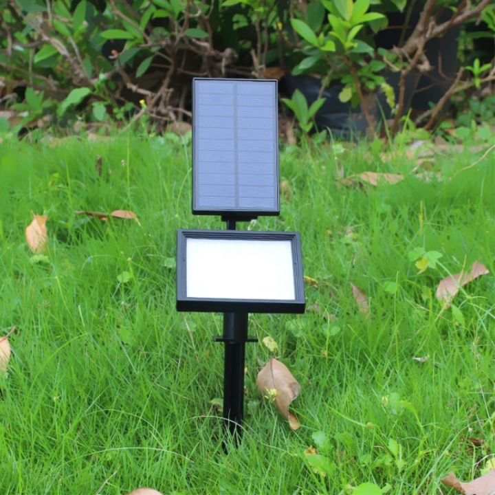 Licer Led Solar Yard Lamp Garden Light Lawn Lamp 48 Leds Waterproof Wall Lamp White Light Black 5w