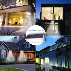 Licer Led Solar Microwave Radar Motion Sensor Light Garden Light 24 Leds Aluminum Alloy White Light Silver 8w