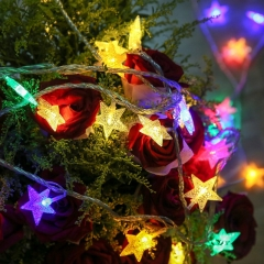 5M 50LED Usb Port Five-pointed Star Colorful Fairy Light Strings Use For Holiday Party Decoration colorful 500cm 6w