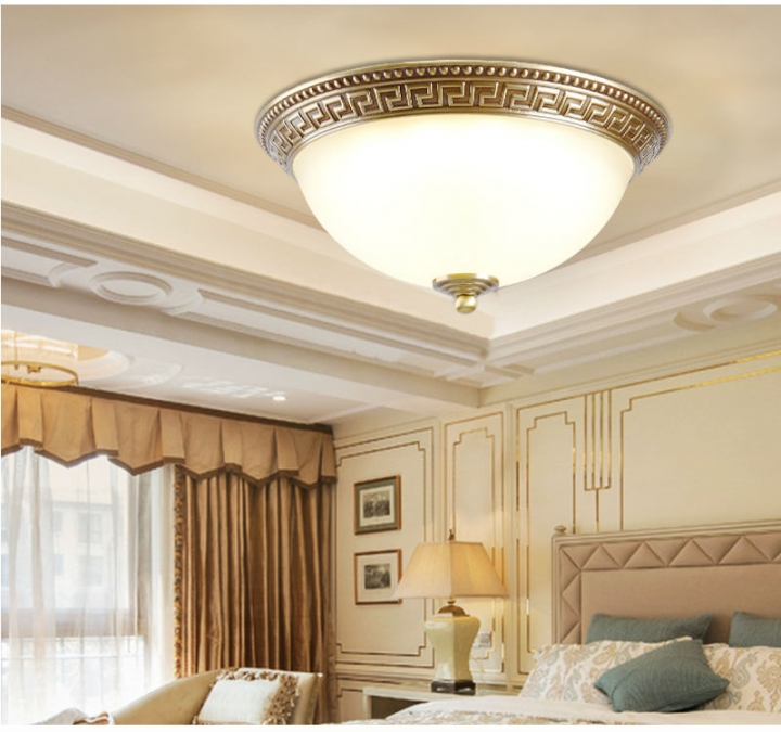 Licer Brass Ceiling Lights With Copper Glass Lighting Luminaire Use In Living Room Bedroom Loft Lamp white normal 12w