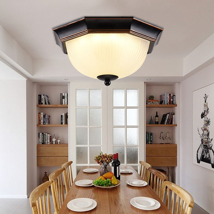 Licer LED Ceiling Lights Use In Living Room Kids Bedroom Country Style Home Decoration Ceiling Lamps White normal 12w