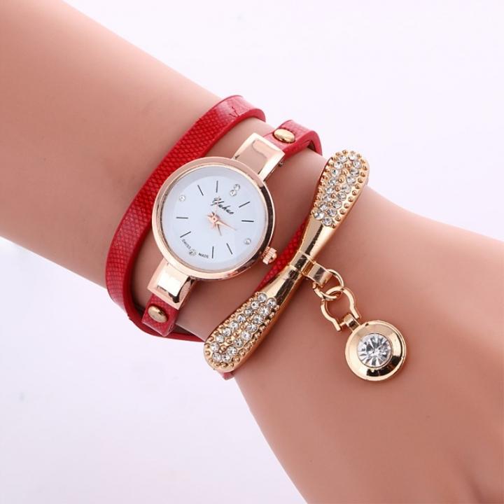 Women Leather Rhinestone Decorative Wristwatches Ladies Pendant Quartz Watches red