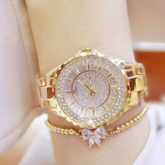 Bs Women Fashion Brand Rhinestone Wristwatches Ladies Classic Luxury Quartz Watches gold