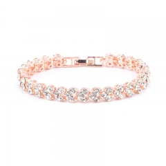 Women Full Rhinestone Crystal Alloy Bracelet Ladies Decor Exquisite Hand Chain rose gold 16.5cm
