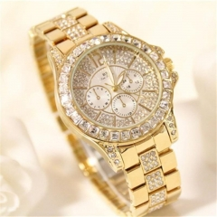 Bs Women Fashion Diamond Wristwatches Ladies Classic Luxury Business Quartz Watch Gold