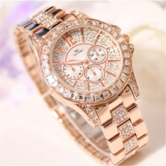 Bs Women Fashion Brand Diamond Dress Wristwatches Ladies Luxury Business Quartz Watches rose gold