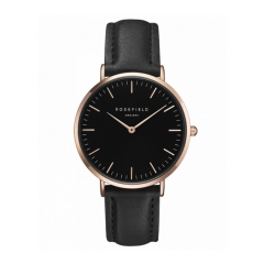 Rosefield Brand Women Simple Fashion Style Watch Leather Waterproof Quartz Movement Watch Black