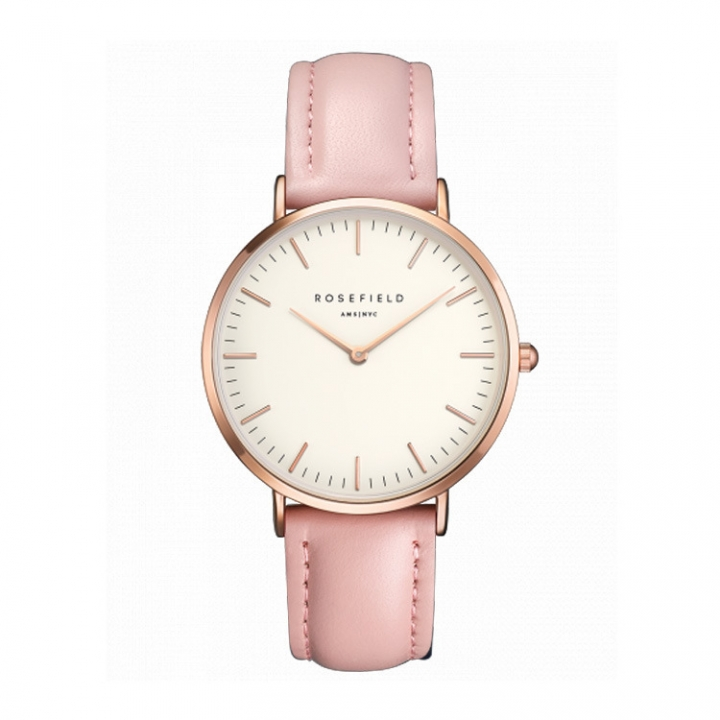 Rosefield Brand Women Simple Fashion Style Watch Leather Waterproof Quartz Movement Watch Pink