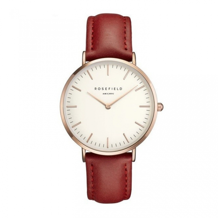 Rosefield Brand Women Simple Fashion Style Watch Leather Waterproof Quartz Movement Watch Red