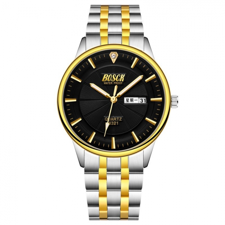 Bosck Men Brand Fashion Business Watch Double Calendar Waterproof Male Classic Quartz Watch Black Normal