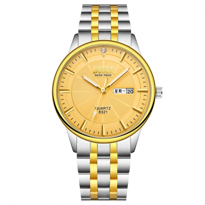 Bosck Men Brand Fashion Business Watch Double Calendar Waterproof Male Classic Quartz Watch gold one size