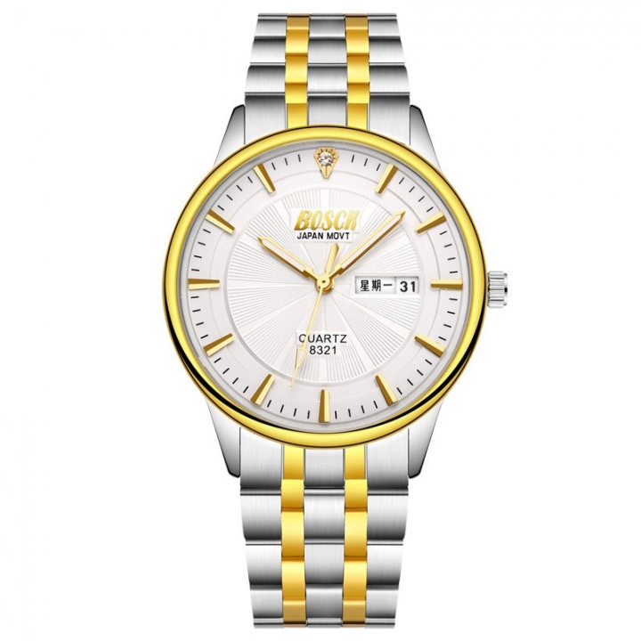 Bosck Men Brand Fashion Business Watch Double Calendar Waterproof Male Classic Quartz Watch White Normal