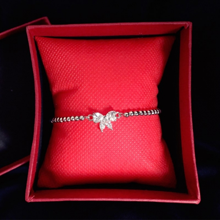 Bs Women Brand Fashion Rhinestone Silver Plated Pure Copper Butterfly Bracelet Ladies Decor Jewelry silver 18cm
