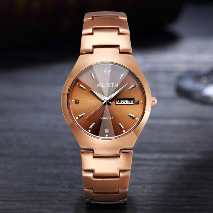 Wlisth Brand Fashion Watch Alloy Double Calendar Waterproof Lovers Quartz Watches Brown Men