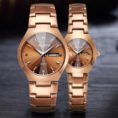 Wlisth Brand Fashion Watch Alloy Double Calendar Waterproof Lovers Quartz Watches Brown Women