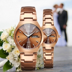 Wlisth Brand Luxury Couple Watch Alloy Double Calendar Waterproof Lovers Quartz Watches A Pair Brown