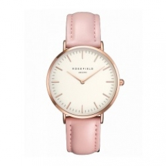rosefield women simple fashion leather waterproof quartz watch pink