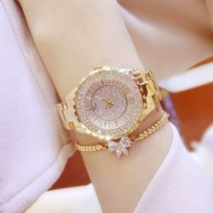 bs women fashion brand rhinestone dress classic luxury quartz watches gold
