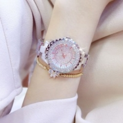 bs women fashion brand rhinestone dress classic luxury quartz watches silver
