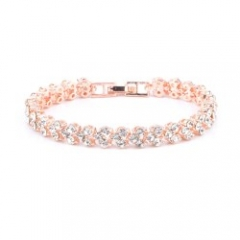 Women Full Rhinestone Crystal Alloy Bracelet Rose Gold
