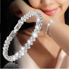Women Full Rhinestone Crystal Alloy Bracelet Silver